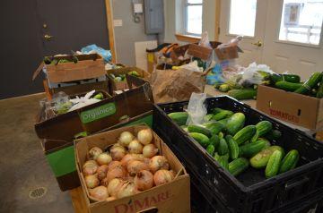 sorting veggies
